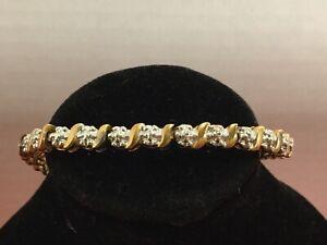 Sterling Silver 925 Gold-tone Diamond Tennis 10.08 gr Bracelet B20