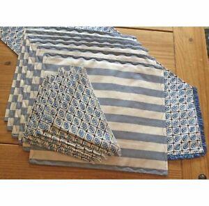 SET Table Runner, 6 Placemats, 6 Napkins Handmade New Blue Stripe/Trees