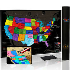 Novelty Place Scratch Off Map of The US with States and Flags Travel Tracker Map