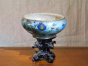 Antique Chinese Qing Dy Yongzheng Reign Crackle Glaze Hand Painted Bowl