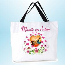 grand cabas on t'aime mamie sac shopping sac de plage  personnalisé réf 09