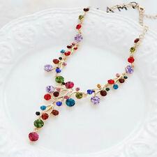 Colorful Crystal Women Bib Collar Choker Chunky Chain Pendant Statement Necklace