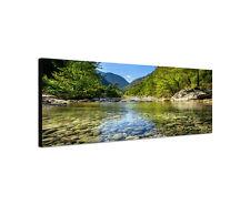 120x40cm Wandbild Leinwand Keilrahmen Panorama Gebirgsfluss Wald Sinus Art