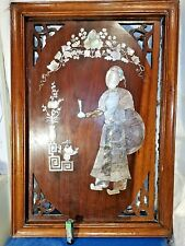 Antique Meiji Japanese MOP Mother of Pearl Abolone Shibayama Wooden Panel 46x32c