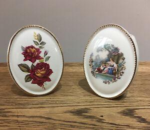 Vintage Pair Bud Vases. Szeiler Studio Oval. Rose/ Romantic. 10x8 Cm