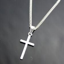 Halskette mit Anhänger. Kreuz,   Silberfarbig. (H1102)