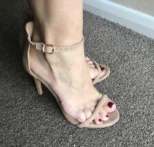 Well Worn Beige Suede Stiletto Sandals Heels Shoes Ladies Size 5