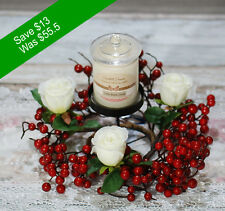 Christmas Decor Candle Holder with Candle- Red Berry and White Flowers Decor-