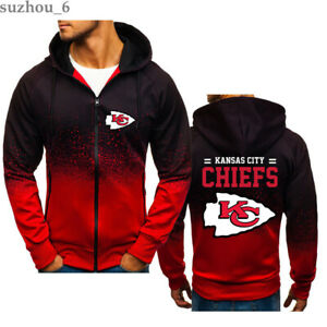 Kansas City Chiefs Zipper Jacket Football Fans Sweatshirt Sports Jogging Hoodie
