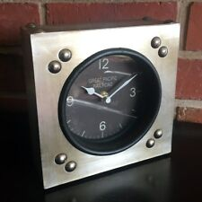 Industrial Antique Gold Table Clock Mantle Desk Aged Metal Black Face Square New