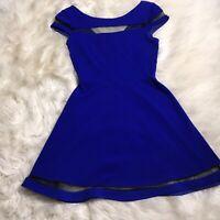 Teeze Me Women Blue Size 5 Short Sleeve mesh Detail Fit n Flare Skater Dress