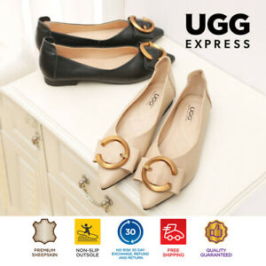 【EXTRA20%OFF】UGG Women Shoes Flat Pari Pointed Toe Ballet with Metal Buckle
