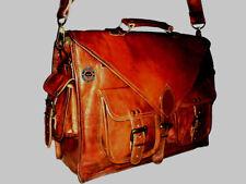 Vintage Leather Tote Men Briefcase 15'' Laptop Case Messenger Shoulder Bag Large