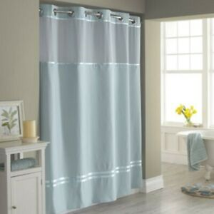 """Hookless Fabric Shower Curtain & Liner 71""""W x 74""""L -Blue Satin Escape"""