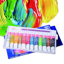 6ml 12Color Paint Tube Draw Painting Acrylic Paint Set & Free Paint Brush Kits