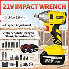 Cordless Electric Impact Wrench Gun 12 Driver 2 Li Ion Batteries High Power