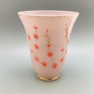 VINTAGE PINK GLASS VASE WITH RED FLOWER DESIGN 18cm TALL TRUMPET END