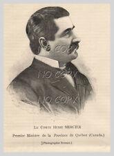 1891 : ILLUSTRATION / GRAVURE :  PORTRAIT COMTE Henri MERCIER QUéBEC CANADA