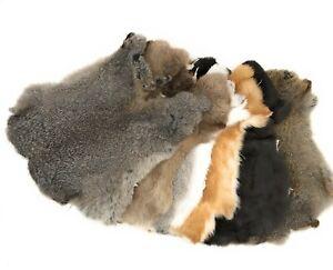 Rabbit Pelt Hide Fur for Crafts Decorate Natural Colors - 5 Pack Assorted Colors