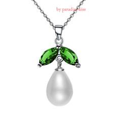 Collana Donna Silver Argento 925 Zircone Verde Perla A251