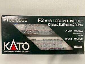 "Nscale Kato Chicago Burlington & Quincy F3 Locomotive Set A ""9960A"" & B ""9960B"""
