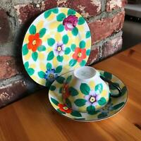 """6.5"""" Vintage Bright Modernist Floral Tea Cup Meito China Hand Painted Japan Set"""