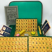 Vintage 60s Butterscotch Bakelite Mahjongg Set 148 Tiles Sealed Pieces Hong Kong