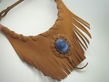 BROWN LEATHER Bib Collar Necklace FRINGE BRAIDED Blue SODALITE SOUTHWESTERN