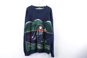 Vintage 90s Orvis Mens XL Hand Loomed Antarsia Fisherman Print Crewneck Sweater