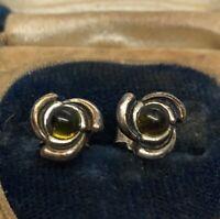 Vintage Sterling Silver Earrings 925 Amber Pierced Studs