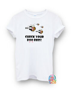 Check Your Boo Bees  Breast Cancer Halloween T-shirt Vest Top Men Women Unisex