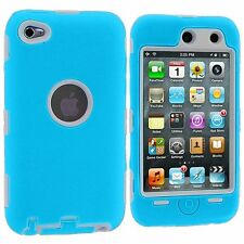 Dual Flex Hard Hybrid Gel Case for  iPod Touch 4th Gen - Blue/White