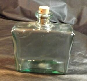 """ONE CLEAR GREEN GLASS BOTTLE CONTAINER WITH CORK CLOSURE 6 3/4"""" HIGH"""