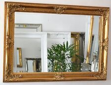 Gold Large Bevelled Wall Mirror & Frame, Antique, Chic, 108cm x 78cm