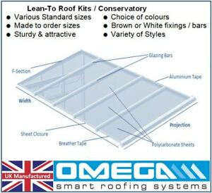 Lean To Conservatory Roof Kit DIY - 3.5m Projection, 10/16/25mm Polycarbonate