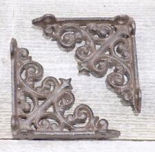 "8 Small Shelf Brackets Fleur De Lis Cast Iron Brace Antique Style Scrolls 4 x 4"""