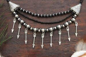 Stunning Handmade 3 Layer Hematite Bead & Silver Arrow Drop Pendant Necklace