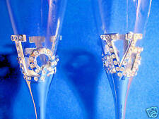 Love Champagne Flutes Bridal Wedding Glasses with Diamante Heart fitting Bases.