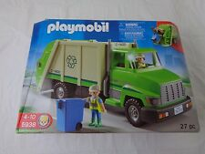 Vintage Playmobil Green Recycling Truck with 27 Pieces