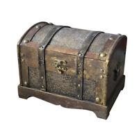 Retro Wooden Pirate Treasure Chest Box Gem Jewelry Trinket Keepsake Case Storage