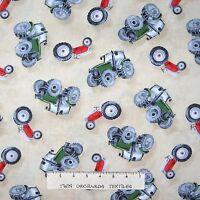 Green Mountain Farm Fabric - Country Tractor Toss Cream - Wilmington YARD