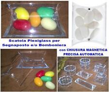 N.10 SCATOLA PLEXIGLASS a BUSTINA con CALAMITA Cm.7x6x2,5H BOMBONIERA CONFETTI
