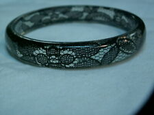 ...Floral Black Lace Encased Clear Lucite Bangle Bracelet...