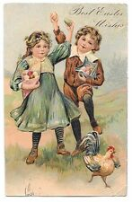 Best Easter Wishes PPC, Embossed, Children With Eggs & Chicken, 1910 PMK