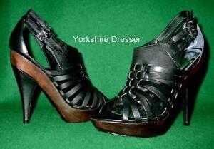 New KAREN MILLEN Uk 7 /40 Black Leather Wooden CAGED CLOG Boho Sandals Shoes