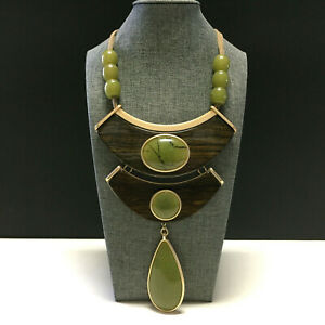 New CHICO'S Tigers Eye Jade Green BIB Statement NECKLACE Taupe Leather UU78o