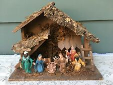 Vintage Christmas Nativity Scene Wooden Stable Manger Made in Italy