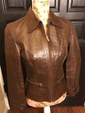 Express Brown Leather Jacket Women's Size 6 Alligator Style
