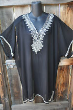 ART TO WEAR FLOWING PONCHO STYLE HAND BEADED TUNIC IN BLACK AND SILVER, OS+!