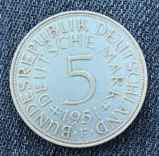 GERMANY 1951 F 5 Mark - Silver - Very Nice Coin